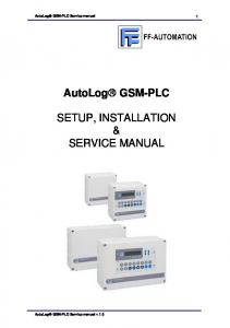 SETUP, INSTALLATION & SERVICE MANUAL