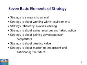 Seven Basic Elements of Strategy