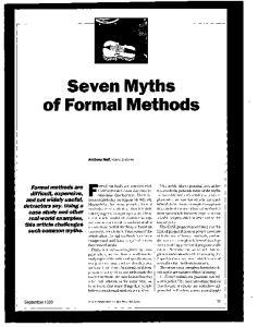 Seven Myths of Formal Methods