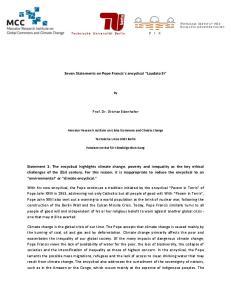 Seven Statements on Pope Francis s encyclical Laudato Si. Prof. Dr. Ottmar Edenhofer