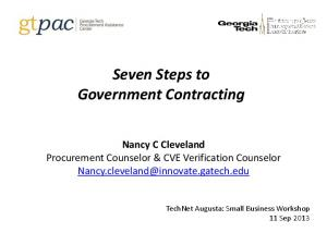 Seven Steps to Government Contracting