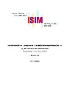 Seventh Festival Conference: Crosscultural Improvisation III
