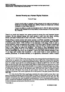 Severe Poverty as a Human Rights Violation
