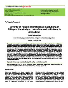 Severity of risks in microfinance Institutions in Ethiopia: the study on microfinance institutions in Ambo town