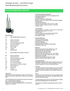 Sewage pumps - standard range