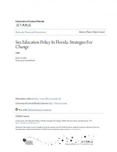 Sex Education Policy In Florida: Strategies For Change