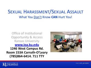 SEXUAL ASSAULT What You Don t Know CAN Hurt You!