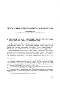SEXUAL CRIMES IN INTERNATIONAL CRIMINAL LAW