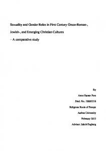 Sexuality and Gender Roles in First Century Greco-Roman-,