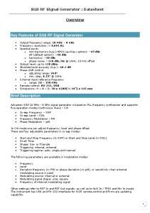 SG8 RF Signal Generator : Datasheet. Overview
