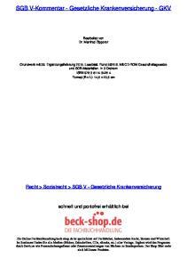 SGB V-Kommentar - Gesetzliche Krankenversicherung - GKV