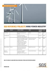 SGS REFERENCE PROJECTS WIND POWER INDUSTRY