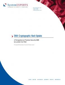 SHA1 Cryptographic Hash Update