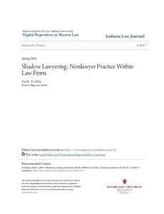Shadow Lawyering: Nonlawyer Practice Within Law Firms