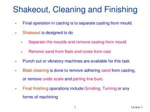 Shakeout, Cleaning and Finishing
