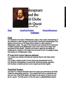 Shakespeare and the Old Globe Web Quest By Jennifer Long