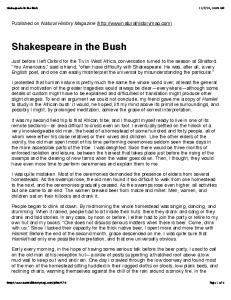 Shakespeare in the Bush