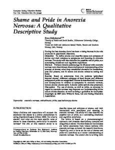 Shame and Pride in Anorexia Nervosa: A Qualitative Descriptive Study
