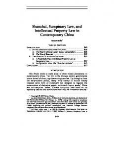Shanzhai, Sumptuary Law, and Intellectual Property Law in Contemporary China