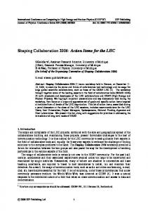 Shaping Collaboration 2006: Action Items for the LHC
