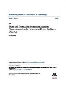 Share and Share Alike: Increasing Access to Government-Funded Inventions Under the Bayh- Dole Act