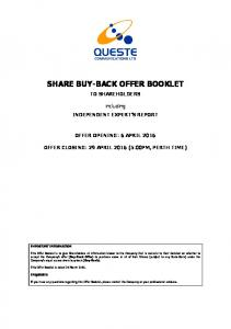 SHARE BUY-BACK OFFER BOOKLET
