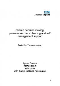 Shared decision making, personalised care planning and self management support