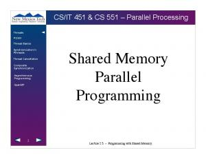 Shared Memory Parallel Programming