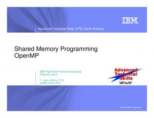 Shared Memory Programming OpenMP