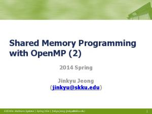 Shared Memory Programming with OpenMP (2)