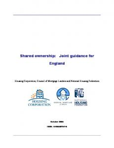 Shared ownership: Joint guidance for. England