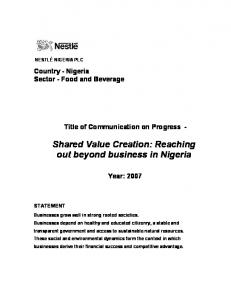 Shared Value Creation: Reaching out beyond business in Nigeria