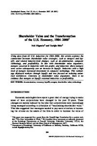 Shareholder Value and the Transformation of the U.S. Economy,