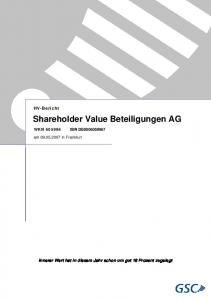 Shareholder Value Beteiligungen AG