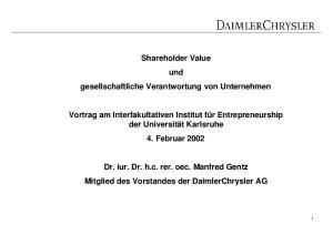 Shareholder Value und gesellschaftliche Verantwortung von Unternehmen