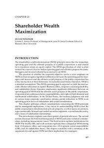 Shareholder Wealth Maximization