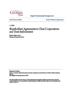 Shareholders' Agreements in Close Corporations and Their Enforcement