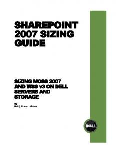 SHAREPOINT 2007 SIZING GUIDE