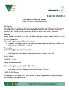 SharePoint 2010 SharePoint Designer Course 50354B: Two days; Instructor-Led