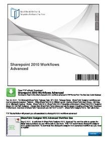 Sharepoint 2010 Workflows Advanced