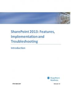 SharePoint 2013: Features, Implementation and Troubleshooting