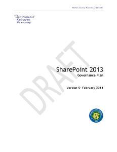 SharePoint 2013 Governance Plan