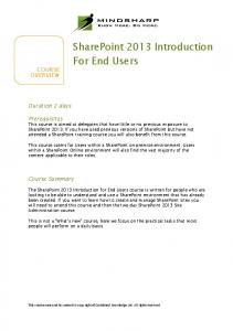 SharePoint 2013 Introduction For End Users