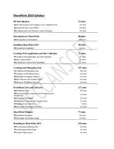 SharePoint 2013 Syllabus