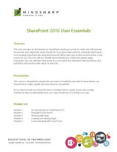 SharePoint 2016 User Essentials