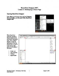 SharePoint Designer 2007 Lesson 2: Developing a Home Page