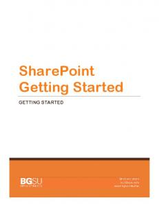 SharePoint Getting Started GETTING STARTED