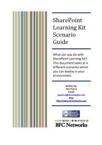 SharePoint Learning Kit Scenario Guide
