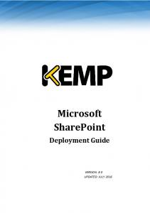 SharePoint. Microsoft SharePoint. Deployment Guide