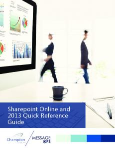 Sharepoint Online and 2013 Quick Reference Guide
